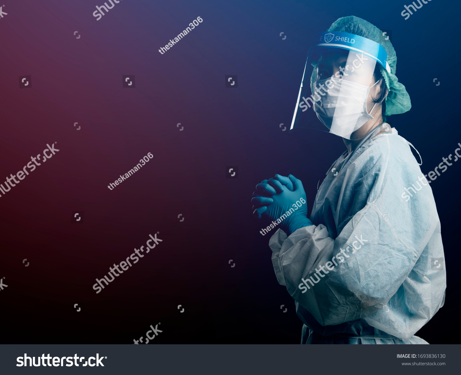 doctor in PPE suit uniform has stress and pray in Coronavirus outbreak or Covid-19, Concept of Covid-19 quarantine.Emotional stress of overworked doctor and medical care team during covid-10 period.  #1693836130