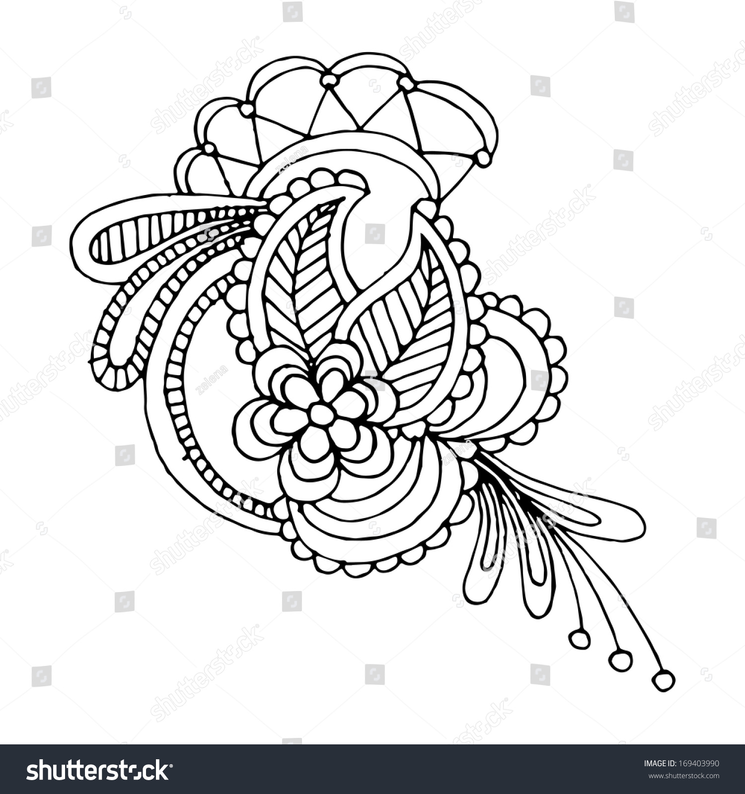 Neckline Embroidery Design Floral Ornamented Pattern Stock Vector ...