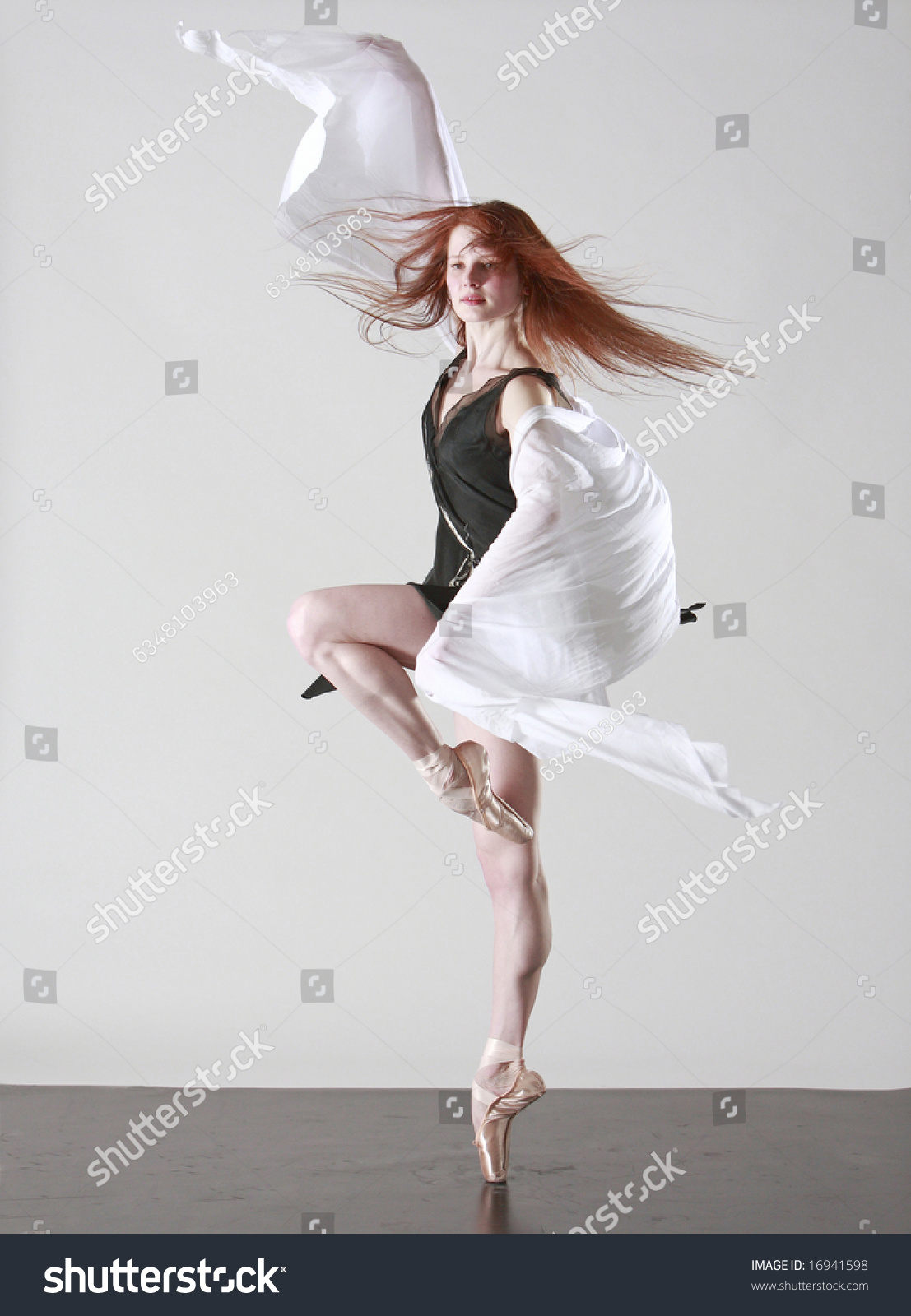 Young Beautiful Ballerina On Pointe Stock Photo 16941598 ...