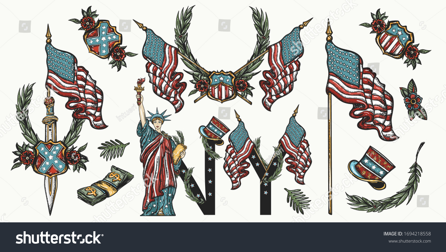 United States America Patriotic Set Traditional Stock Vector Royalty Free 1694218558