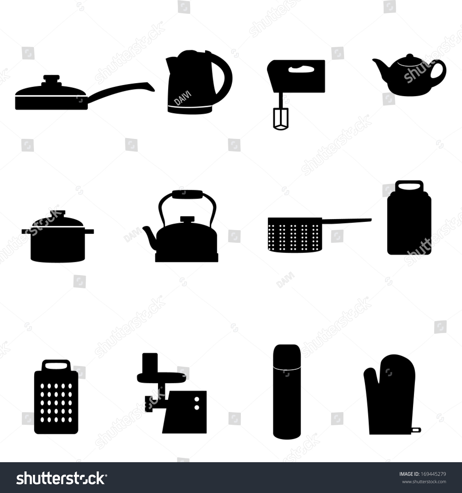 Set Icons Different Types Kitchen Appliances Stock Vector 169445279 ...