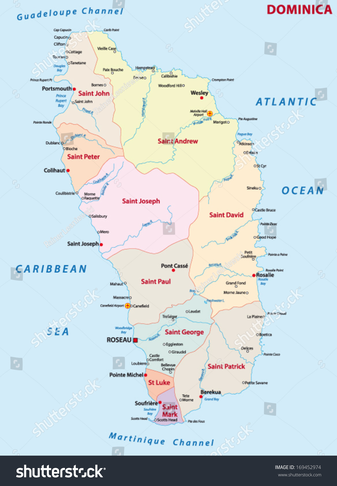 Dominica Administrative Map Stock Vector 169452974 Shutterstock