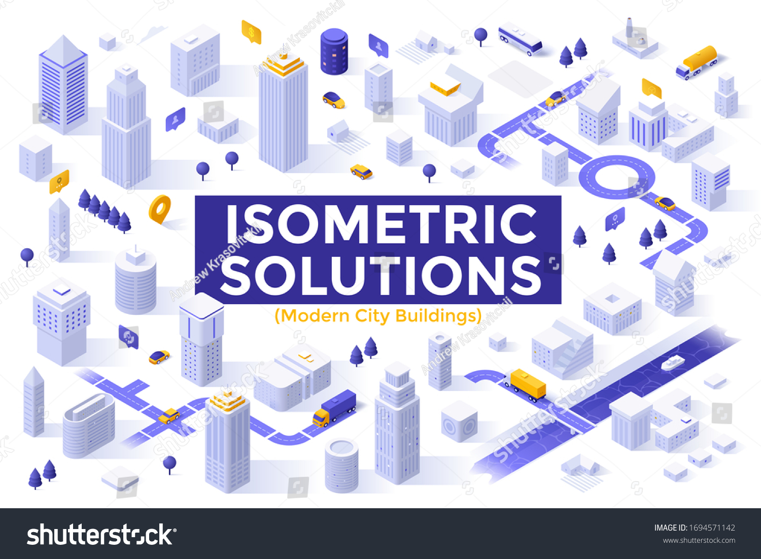 Bundle of megapolis city buildings, downtown skyscrapers, suburban houses. Set of isometric design elements or objects isolated on white background. Modern vector illustration for map construction.