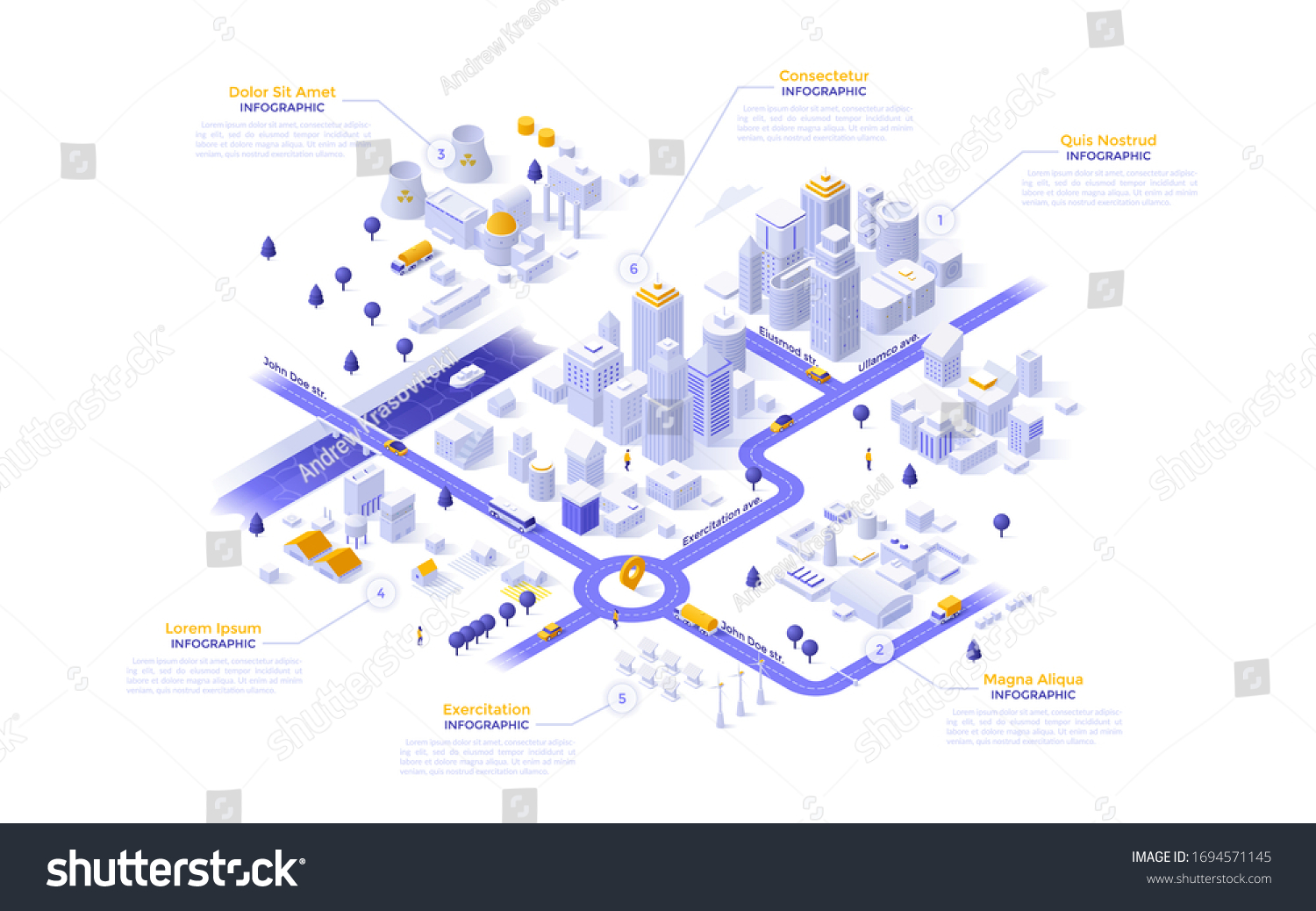 Isometric map, plan, scheme of modern megapolis riverside city with different zones - downtown, industrial district with power plants, suburban area. Infographic design template. Vector illustration. #1694571145