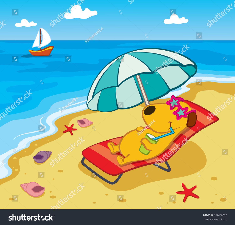 Cartoon Dog Beach Stock Vector Shutterstock