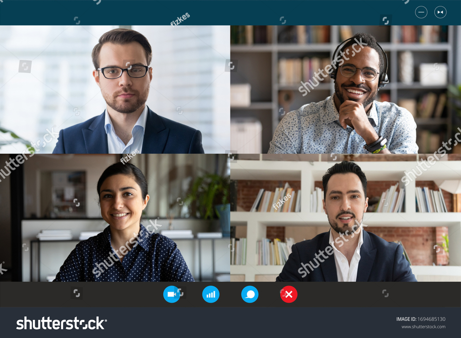Head shot participants videoconference on-line meeting. Middle-east indian african european partners negotiating use videocall. Corporate staff solve issues remotely easy virtual communication concept #1694685130