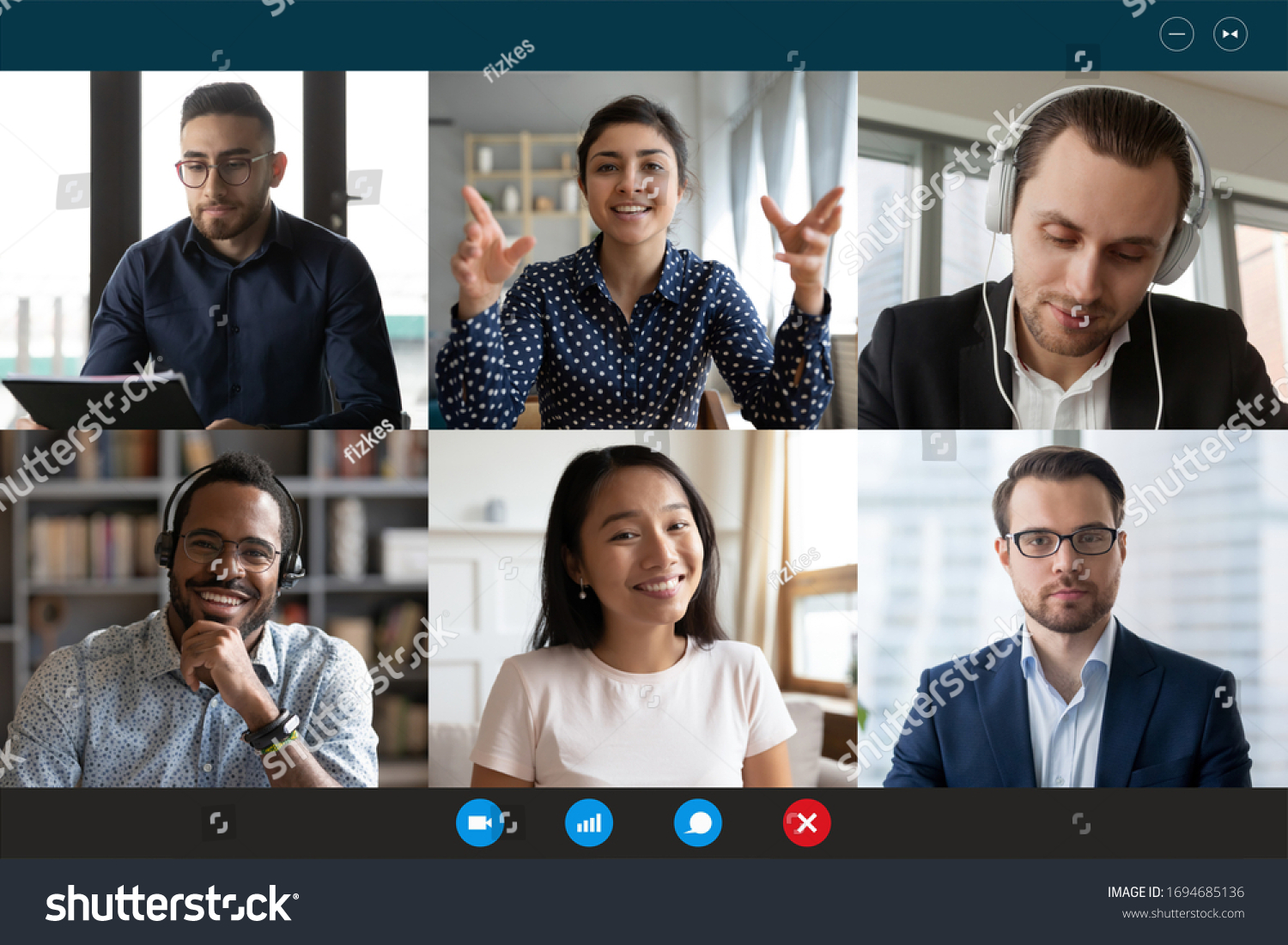 Team working by group video call share ideas brainstorming negotiating use video conference, pc screen view six multi ethnic young people, application advertisement easy and comfortable usage concept #1694685136