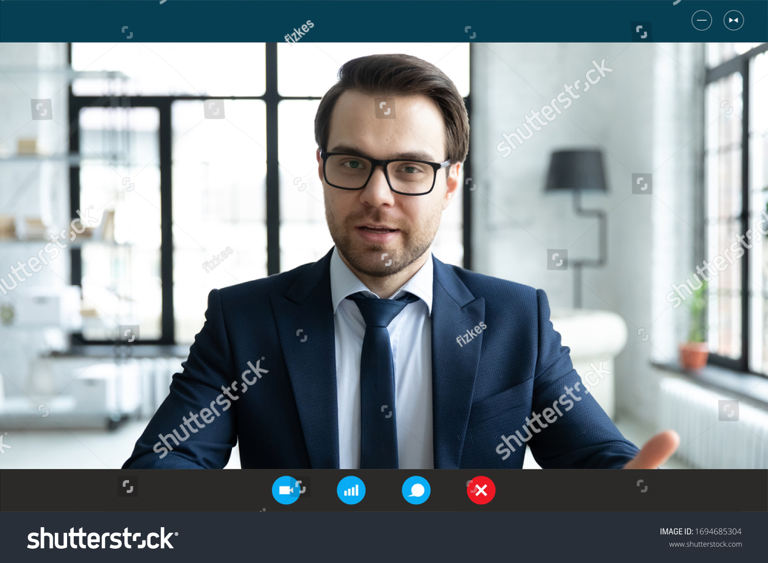 Head shot employer lead job interview with applicant laptop screen teleconference app view. Businessman talk with client by video call communicating distantly use modern videoconference and pc concept #1694685304
