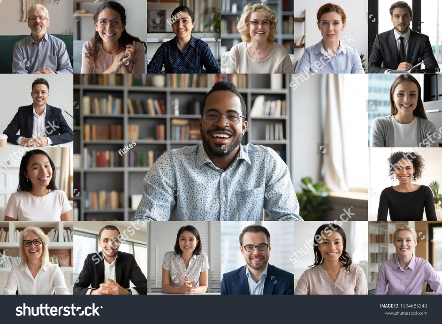 Many portraits faces of diverse young and aged people webcam view, while engaged in videoconference on-line meeting lead by african businessman leader. Group video call application easy usage concept #1694685340