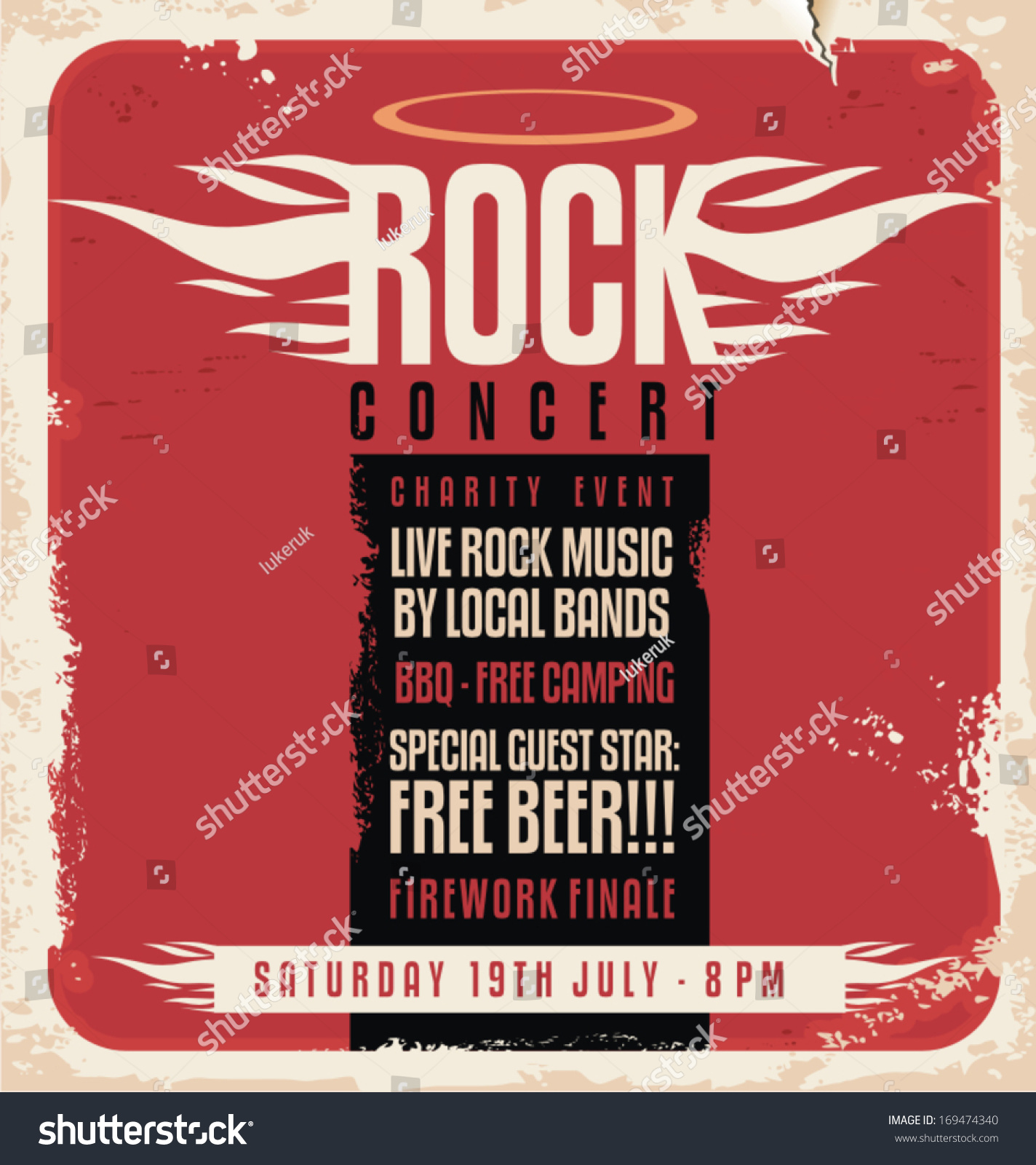 70s poster design template - Rock Concert Retro Poster Design Template On Old Paper Texture 169474340