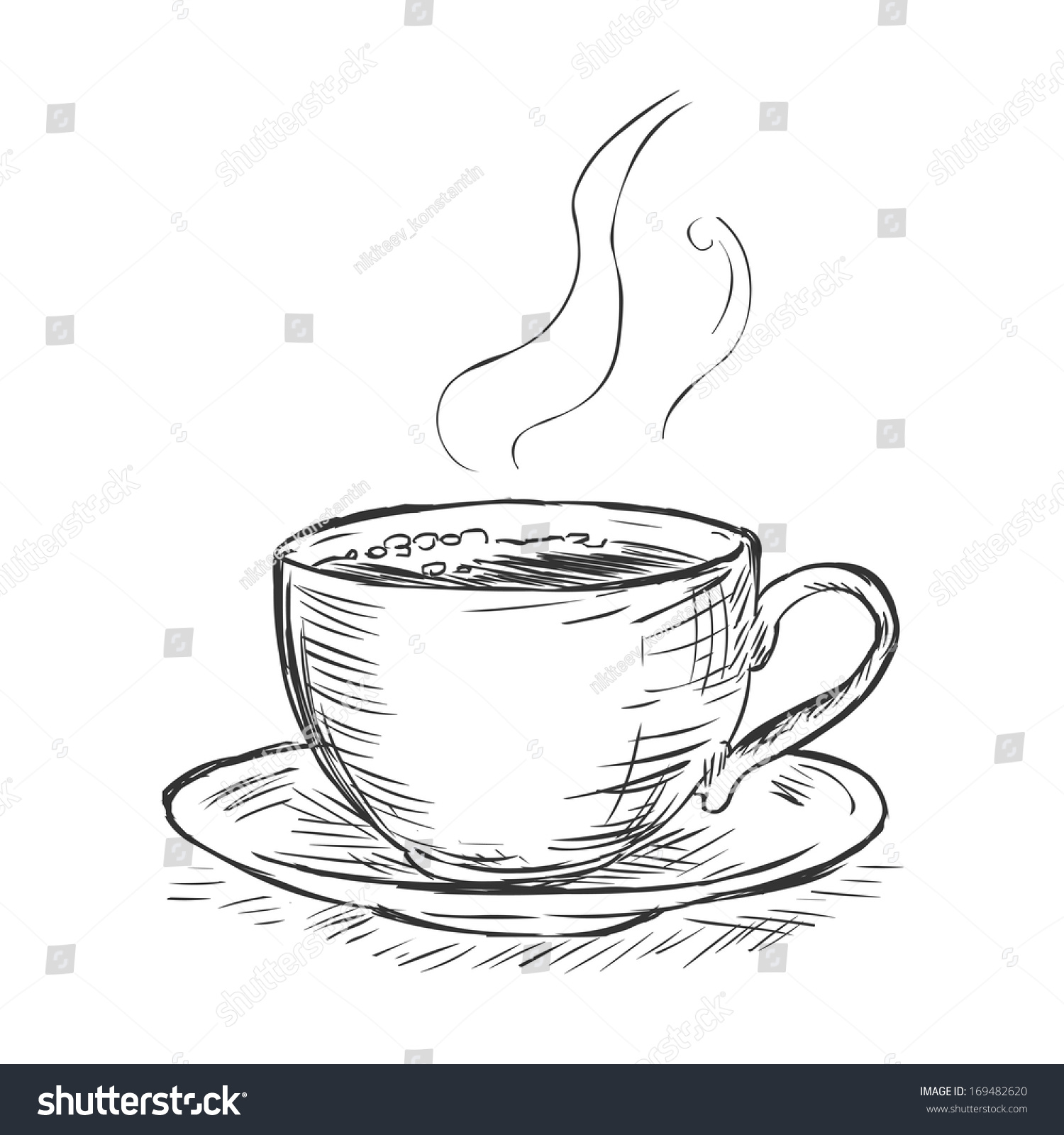 Coffee cup sketch - Vector Sketch Illustration Cup Of Coffee