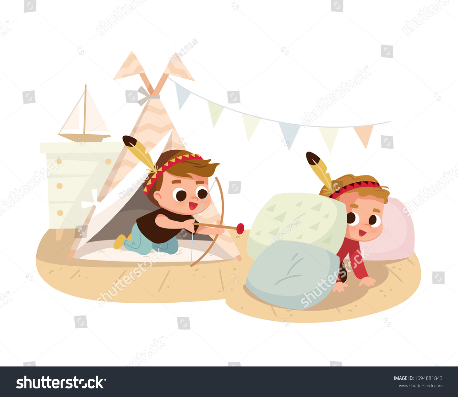 Two Boys Play Home Native American Stock Vector Royalty Free 1694881843