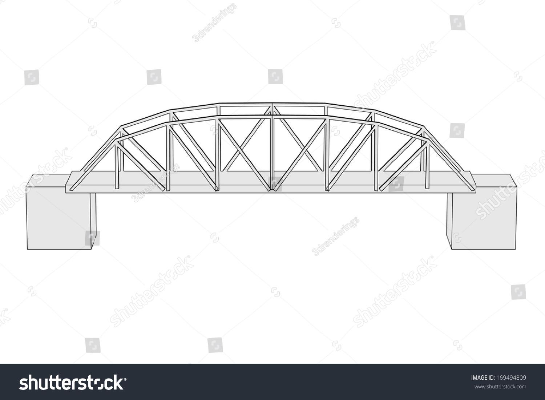 Cartoon Image Bridge Architecture Element Stock Illustration Truss Diagram Beam Of
