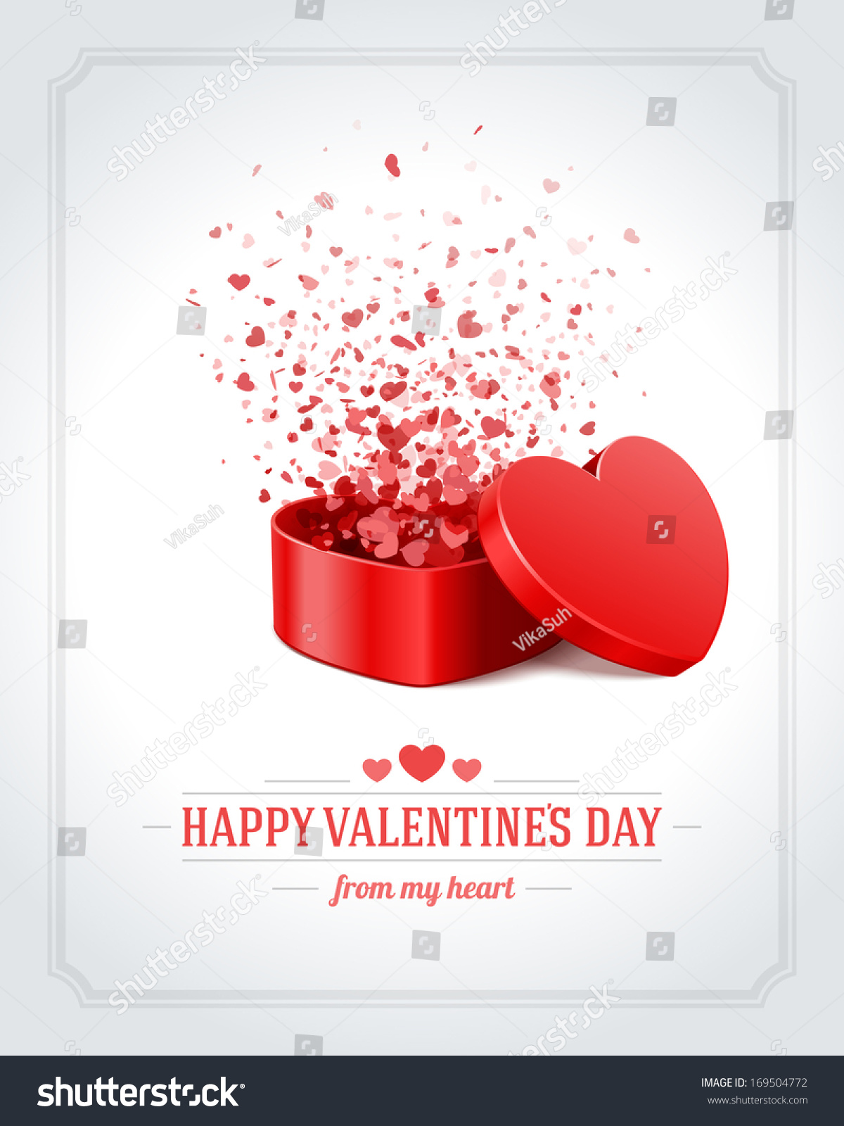Happy Valentines Day Card Open Heart Vector 169504772 – Valentine S Day Card Images