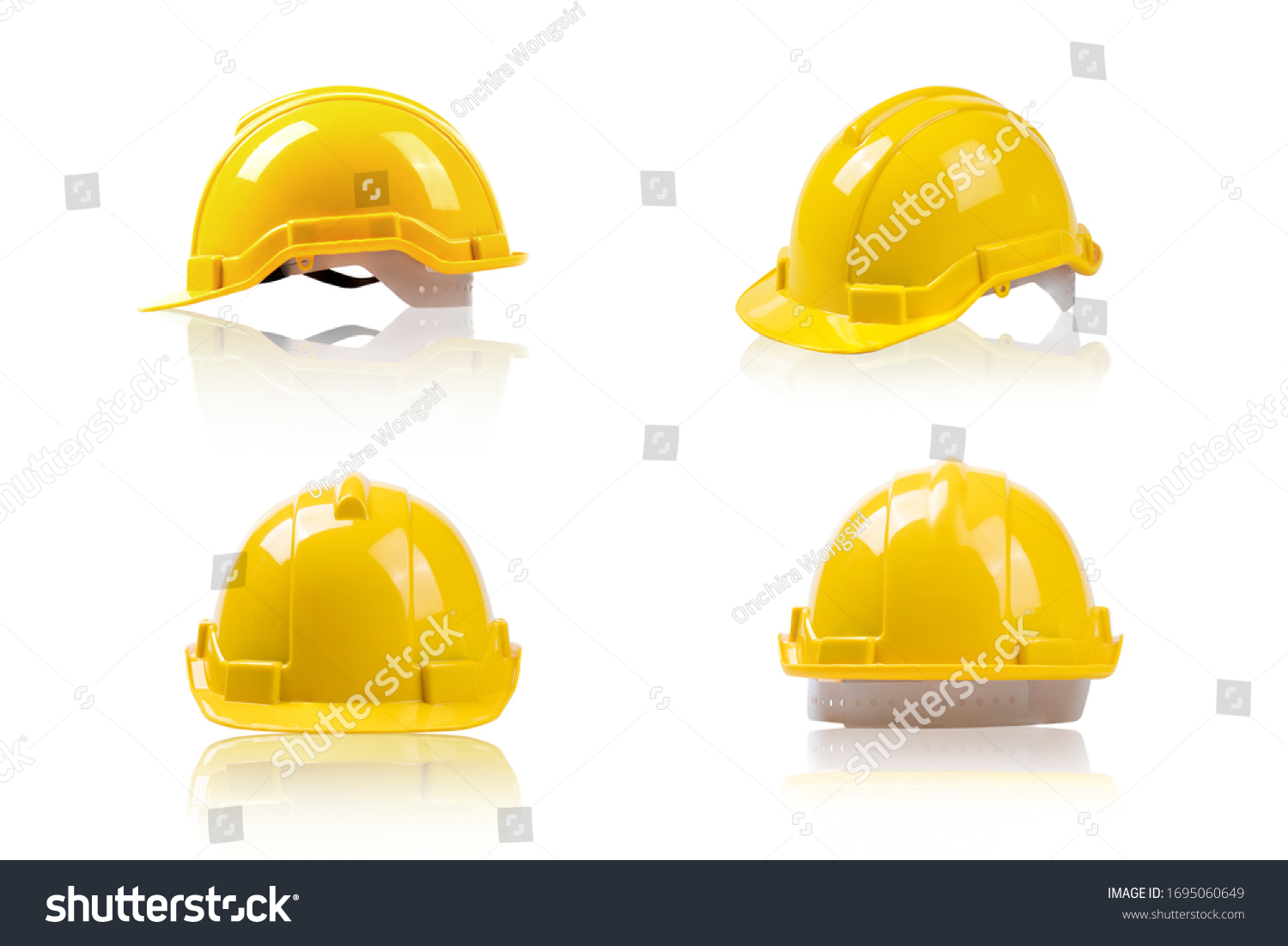 set yellow deferential helmet, construction tools for industrial safety isolated on white background   #1695060649