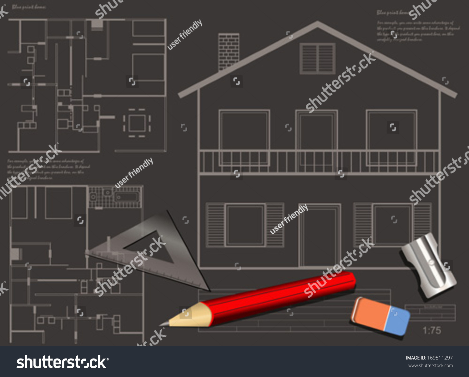 House construction blueprint vector background stock vector house construction blueprint vector background malvernweather Images