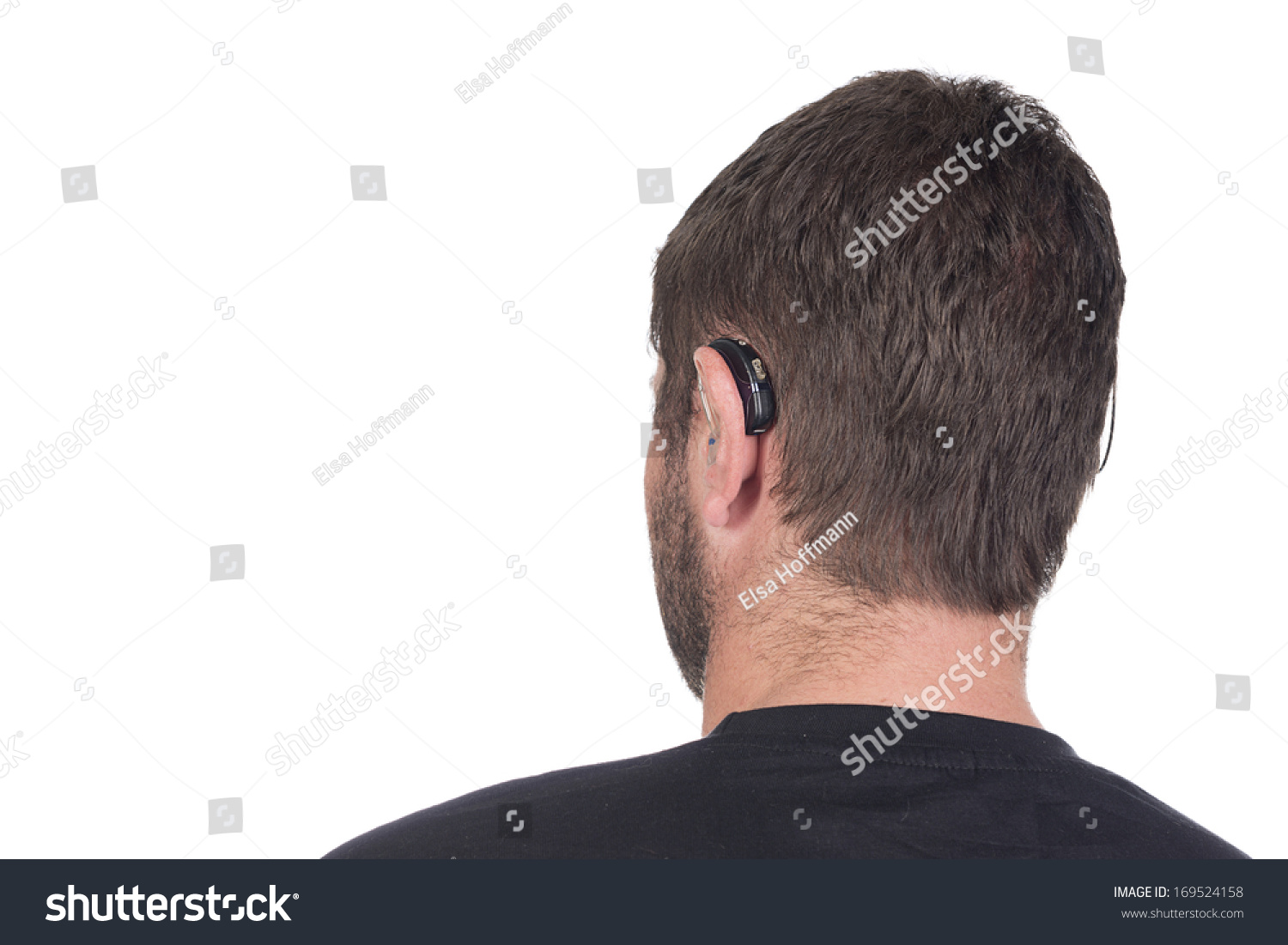 Young Deaf Or Hearing Impaired Man With Cochlear Implant And ...