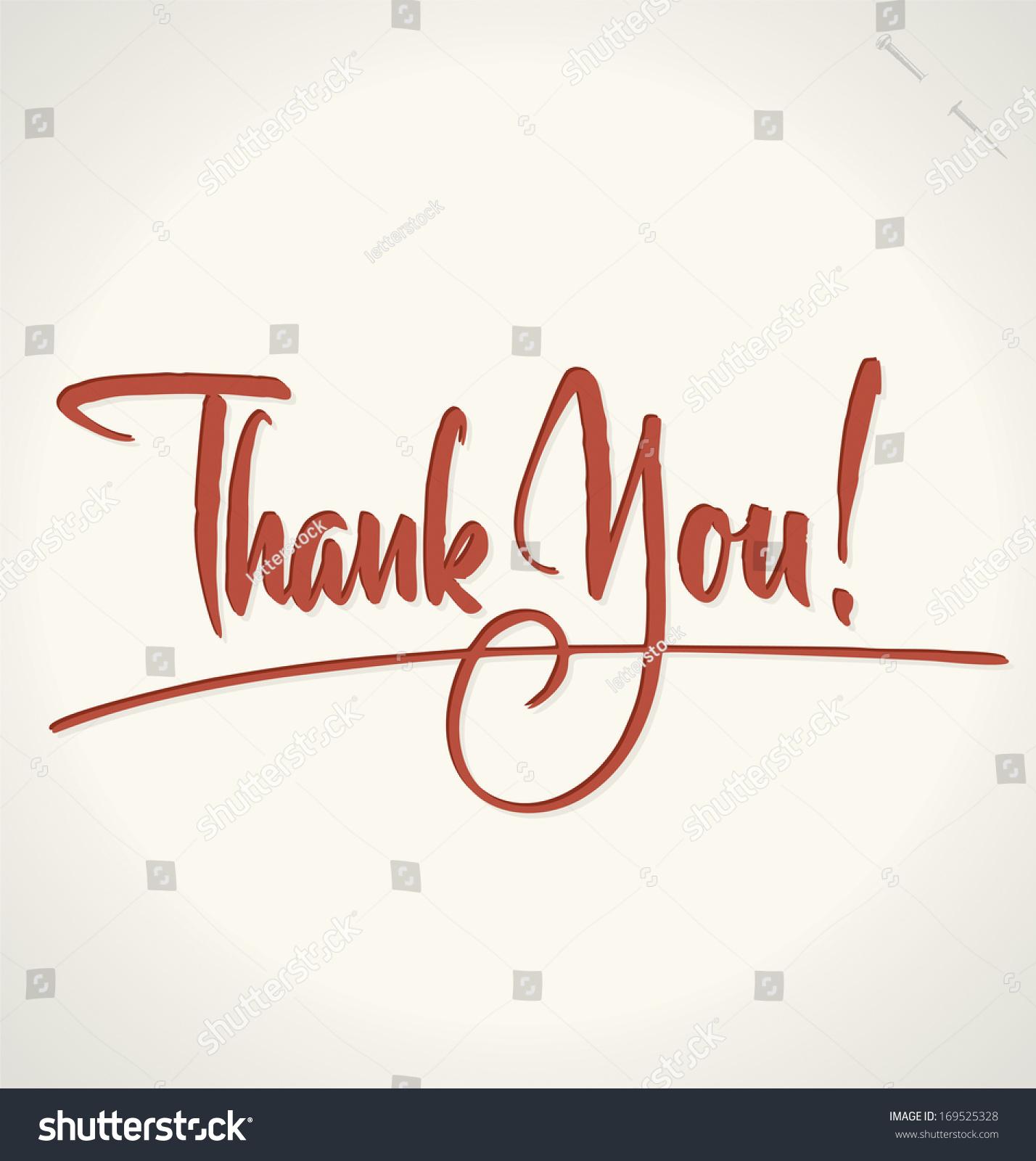 Thank you hand lettering custom handmade stock vector