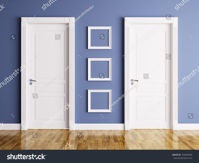 Stock Room Doors : Interior room two classic doors frames stock illustration