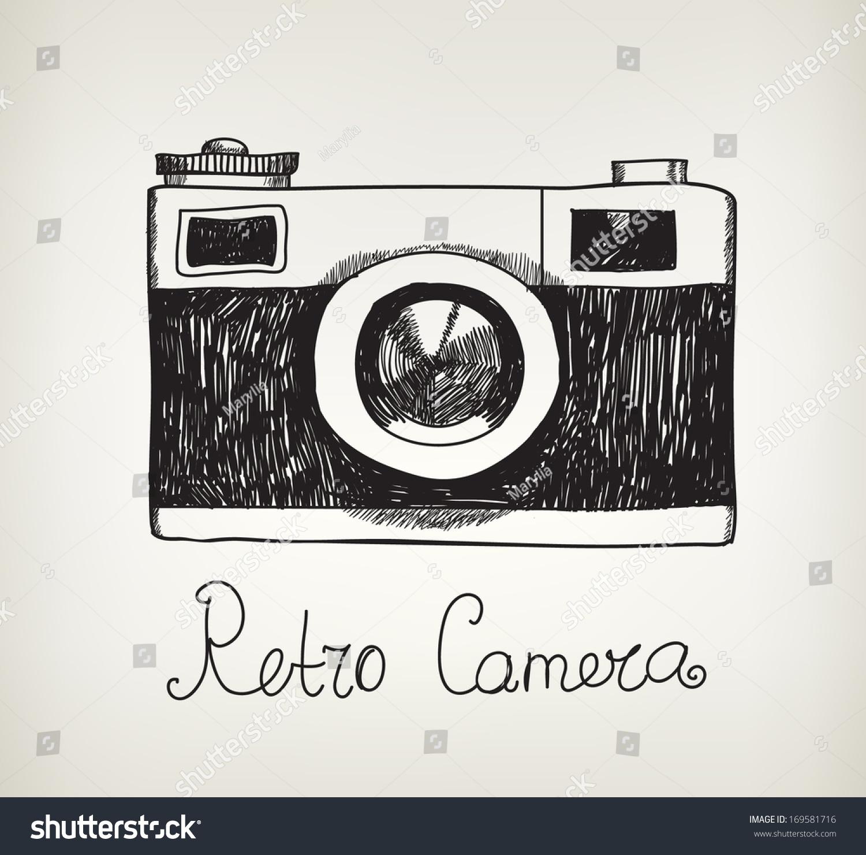 vector retro hand drawn hipster photo stock vector