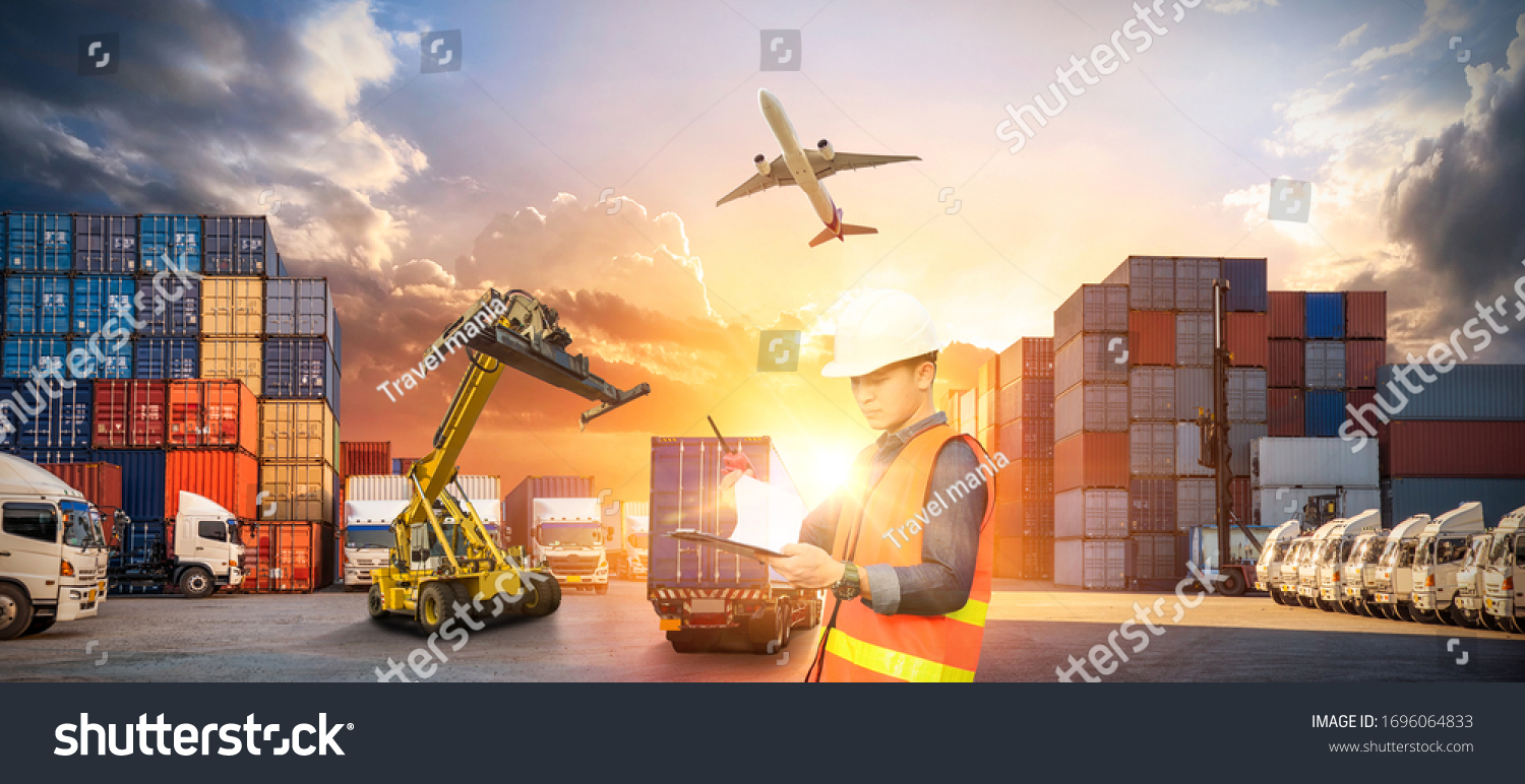 Container truck in ship port for business Logistics and transportation of Container Cargo ship and Cargo plane with working crane bridge in shipyard at sunrise, logistic import export concept #1696064833
