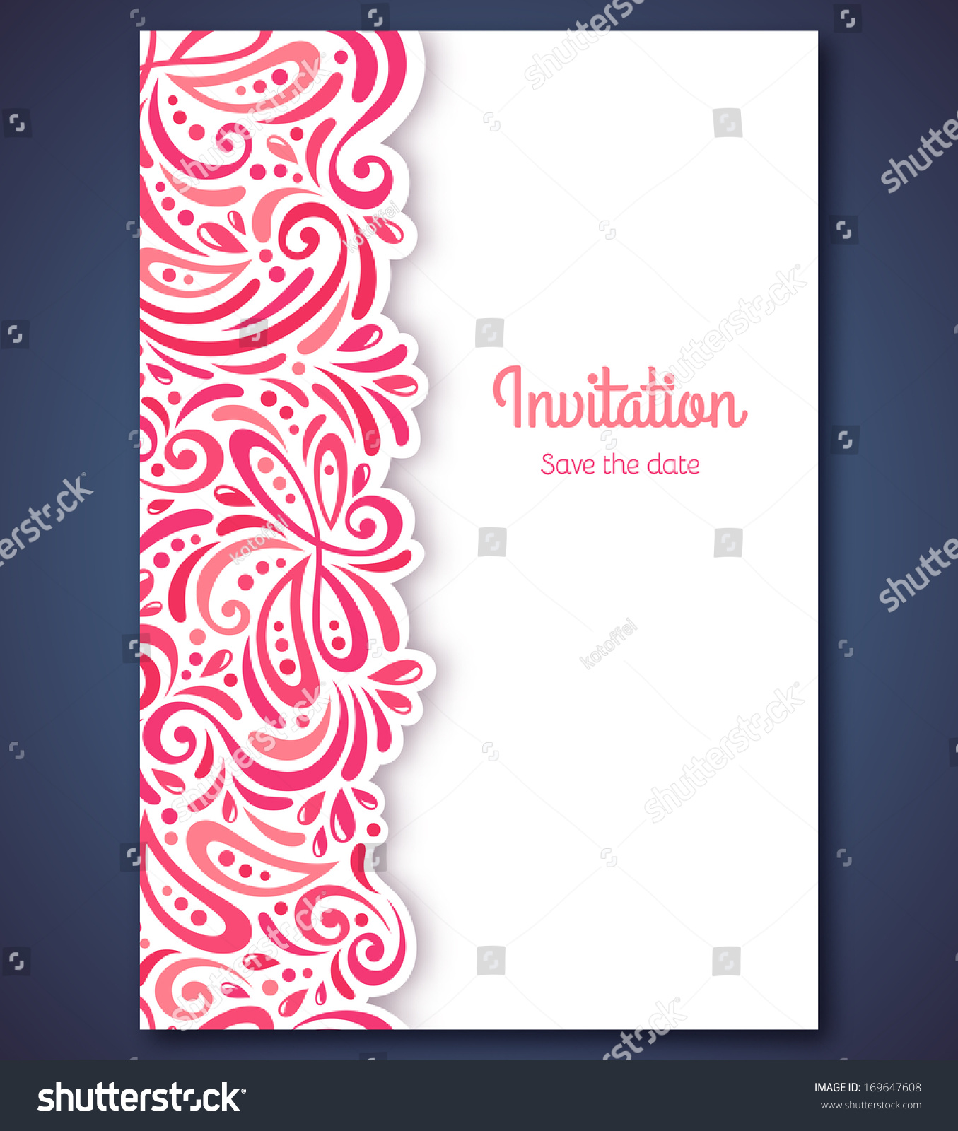 Wedding Invitation Card Template Abstract Pink Stock Vector Royalty