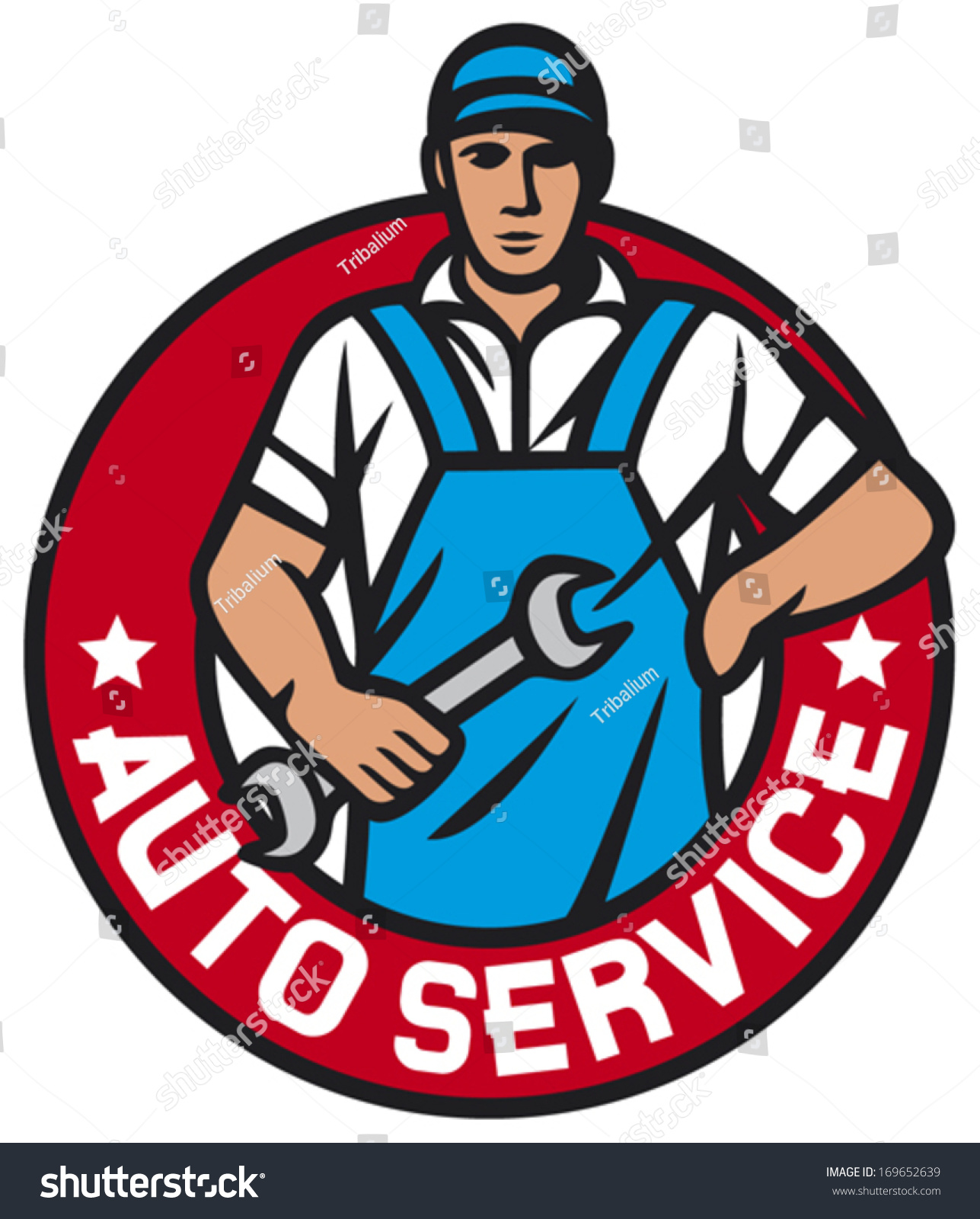 auto service label car mechanics professional stock vector