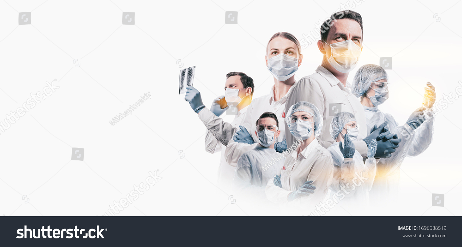 team of doctors men and women fighting diseases and viruses #1696588519
