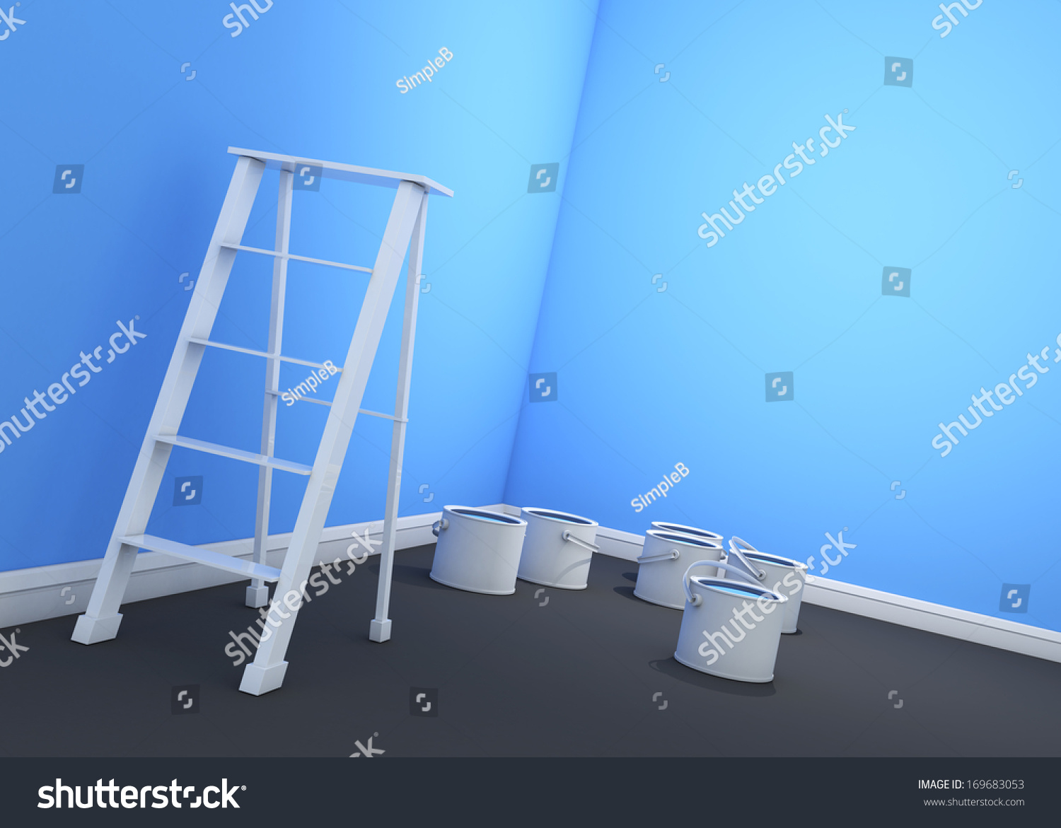 3d light blue sky wall painting ladder paint cans stock for Light sky blue paint