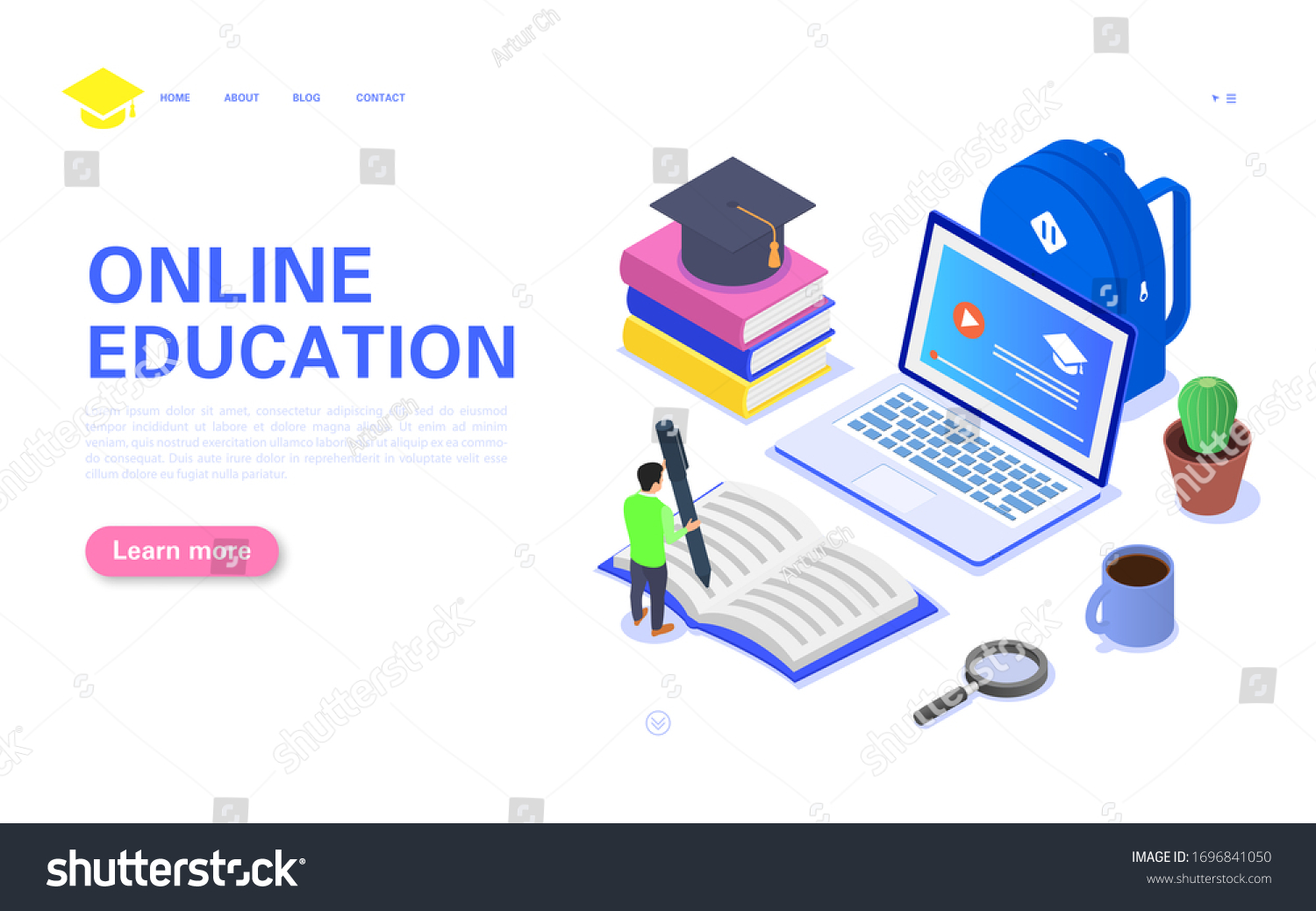 Modern Online Education Banner Concept Student Stock Vector Royalty Free 1696841050