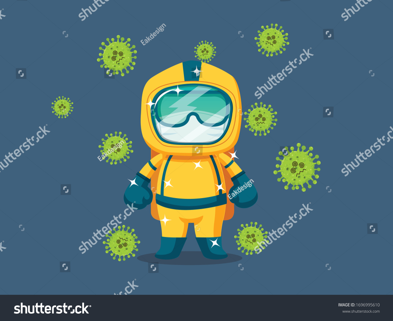 Stop Covid 19 Coronavirus Cartoon Character Stock Vector Royalty Free 1696995610