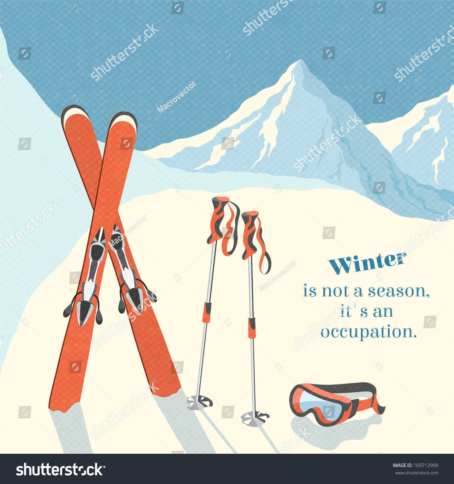 Ski Winter Mountain Landscape Background Retro Poster Vector Illustration 169712999 Shutterstock