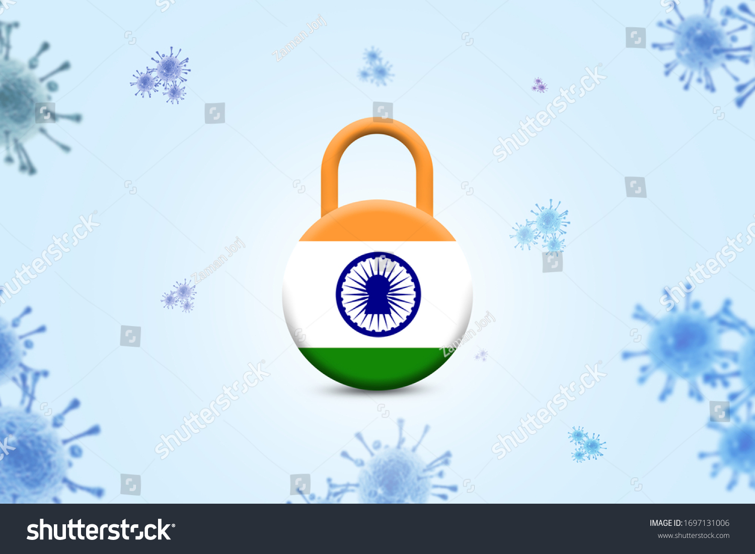 Covid19 Pandemic 3d India Lockdown Quarantine Stock Illustration ...