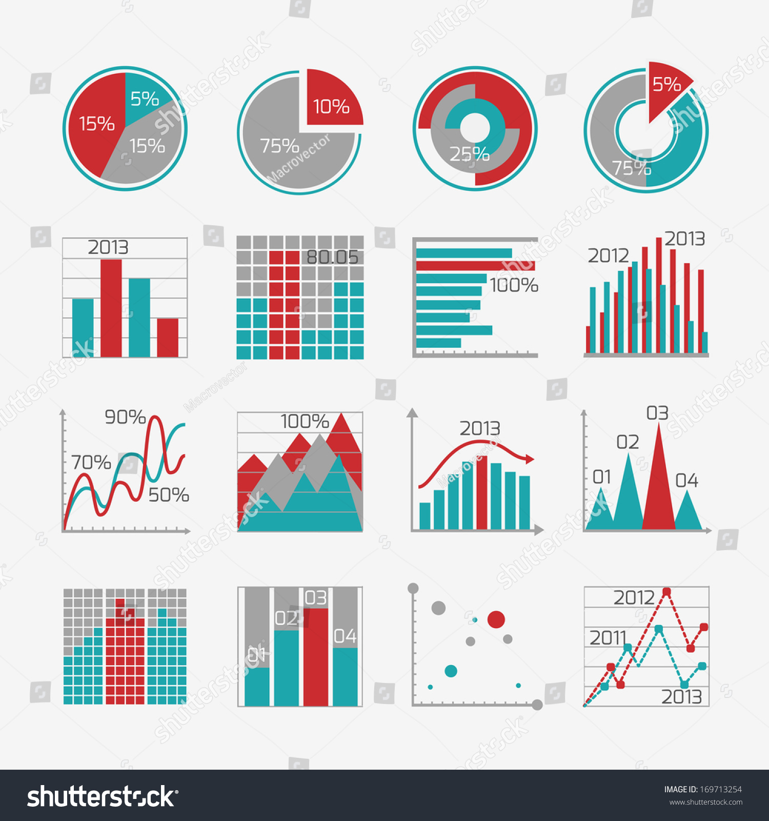 infographic elements business report presentation website stock