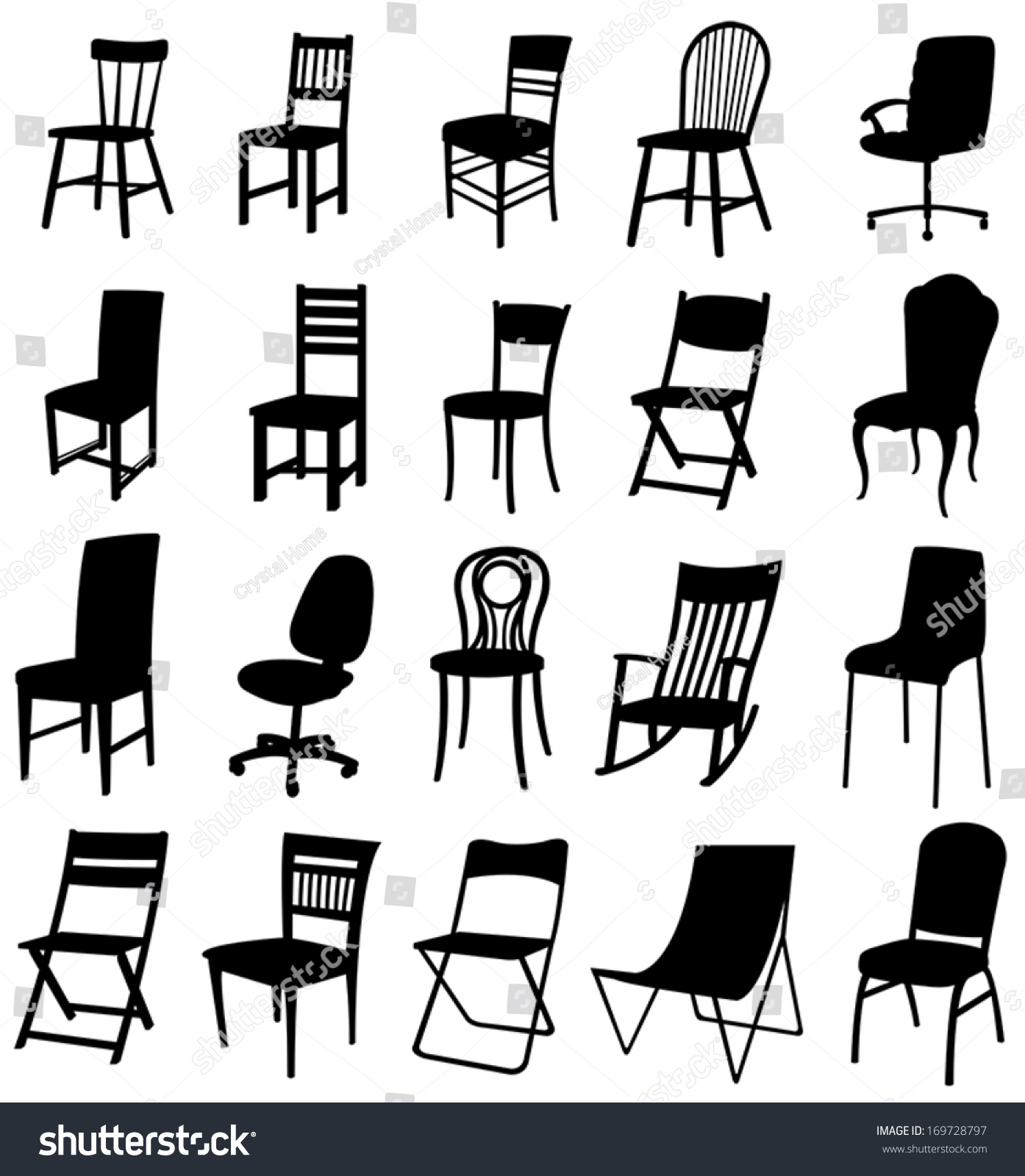 Antique chair silhouette - Sets Of Silhouette Furniture 2 Create By Vector
