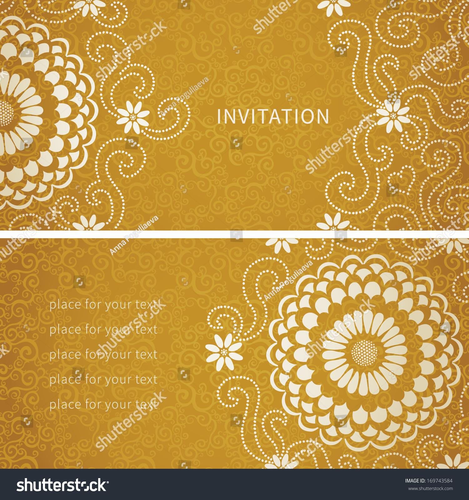vintage invitation cards large flowers curls stock vector 169743584