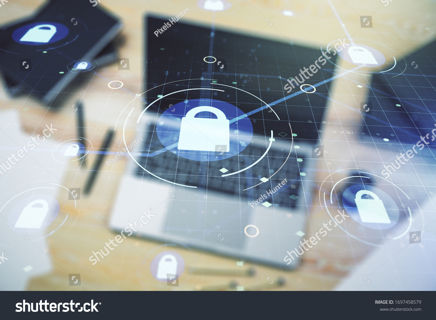 Creative light lock illustration with microcircuit on modern computer background, cyber security concept. Multiexposure #1697458579