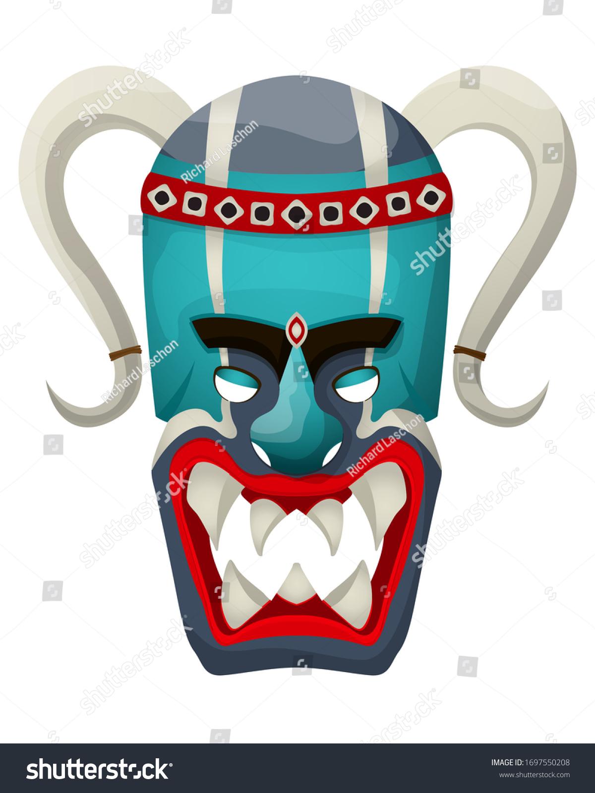 stock-vector-horned-tribal-mask-vector-i