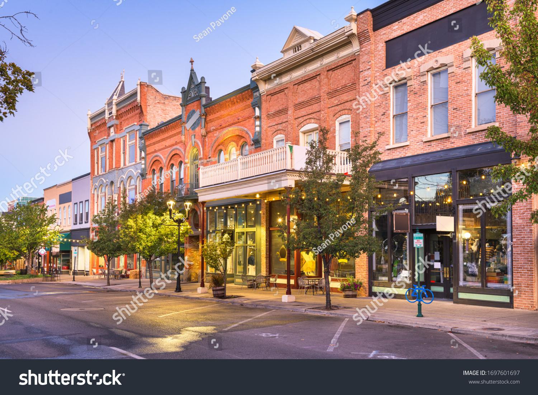 Provo, Utah, USA downtown on Center Street at dusk. #1697601697