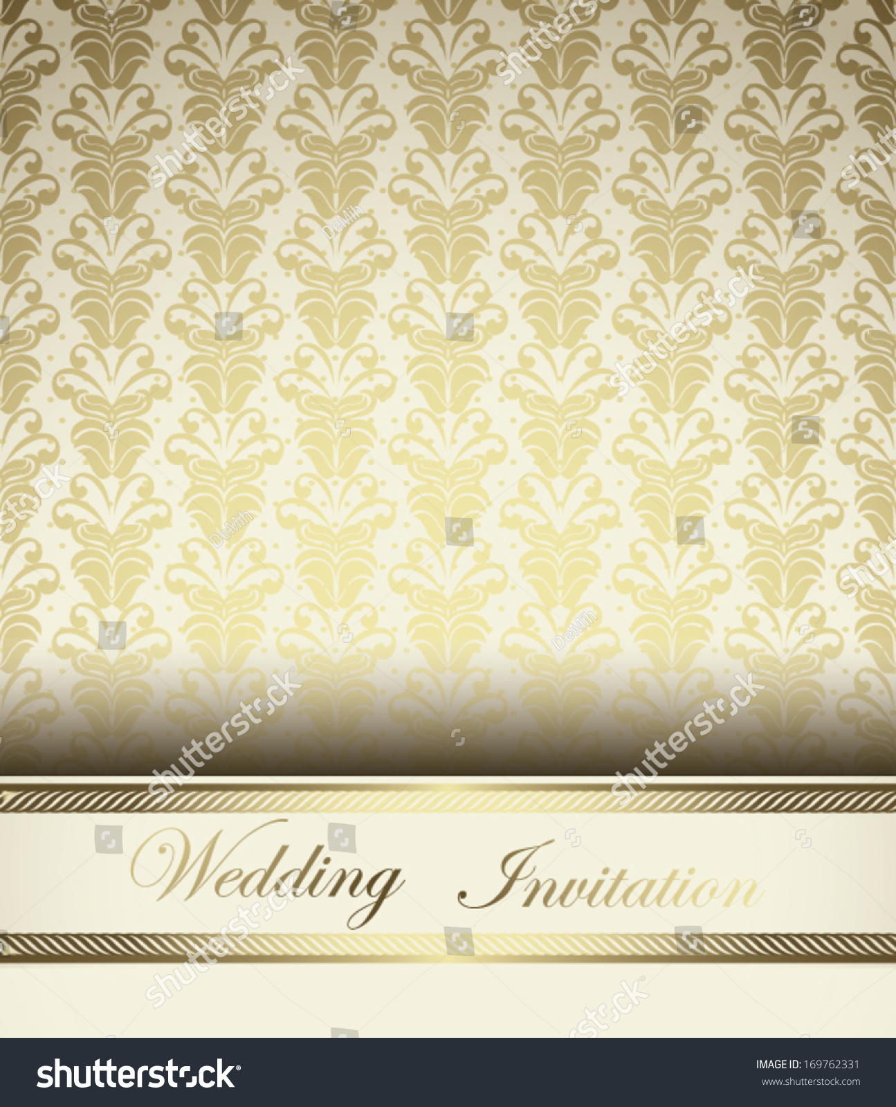 Golden Wedding Invitation Light Design Stock Vector 169762331 ...