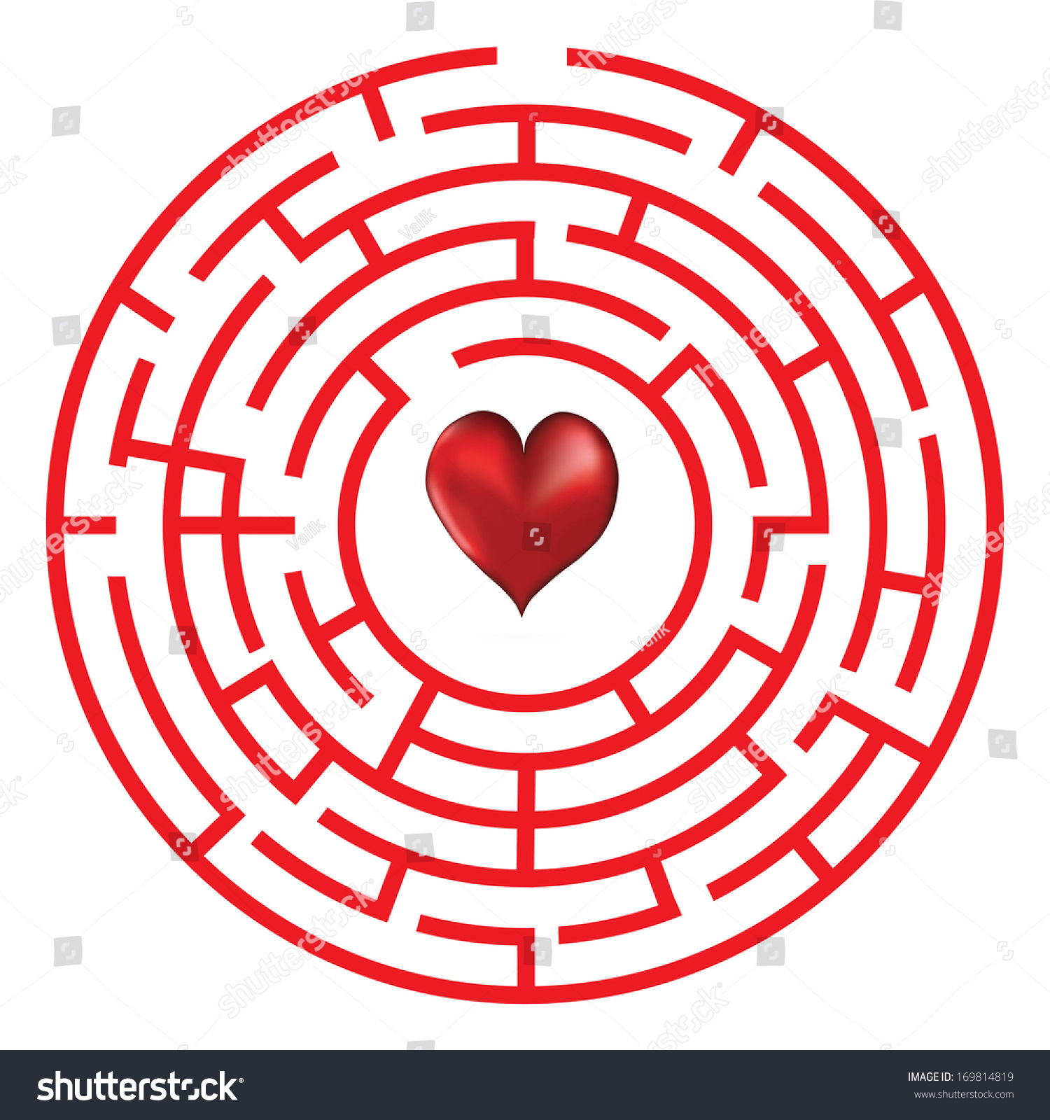 Love Heart Maze Or Labyrinth Valentineu0027s Day Vector Illustration.