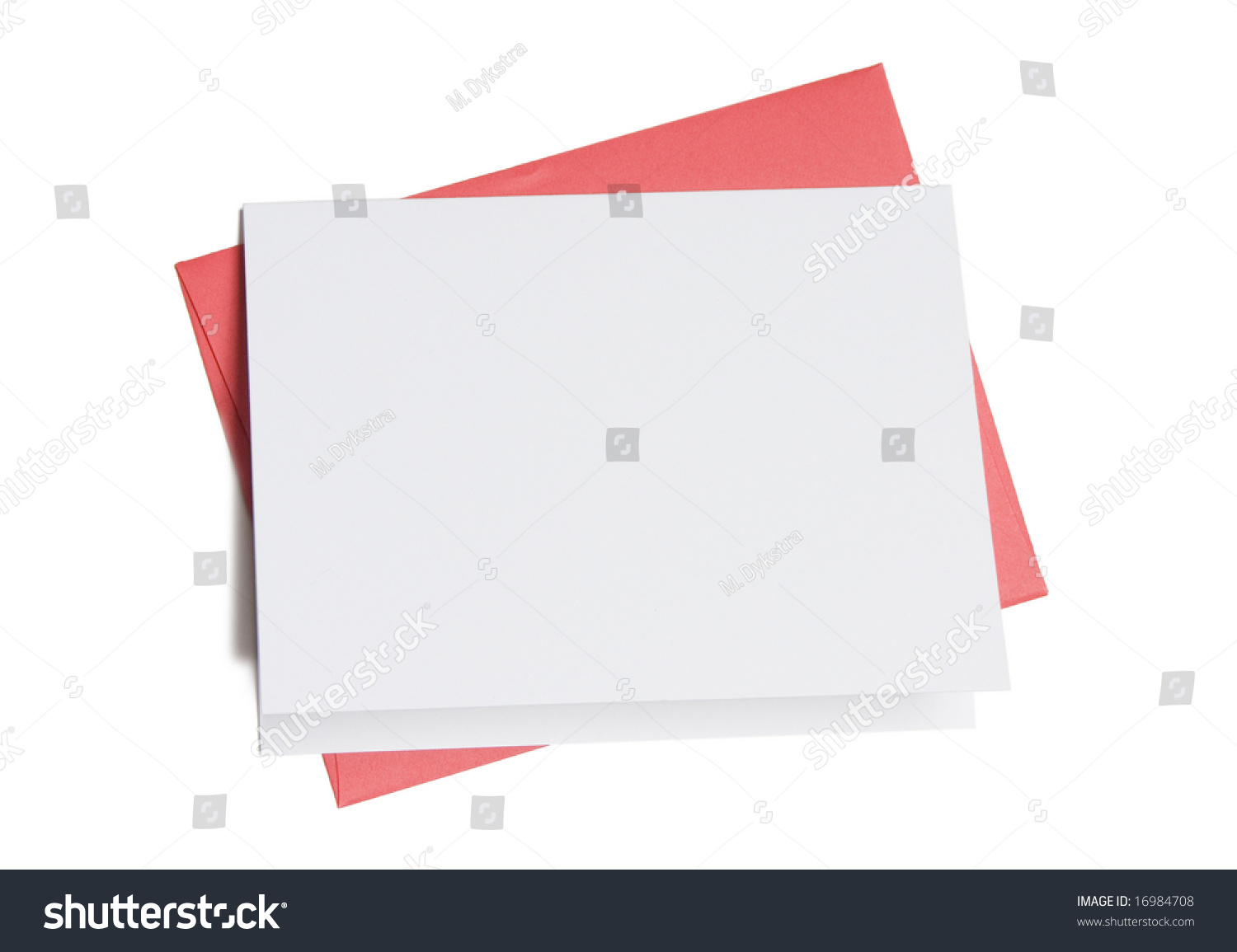 Colored card stock and envelopes - Blank Greeting Card On Top Of Colored Envelope Isolated On White Background
