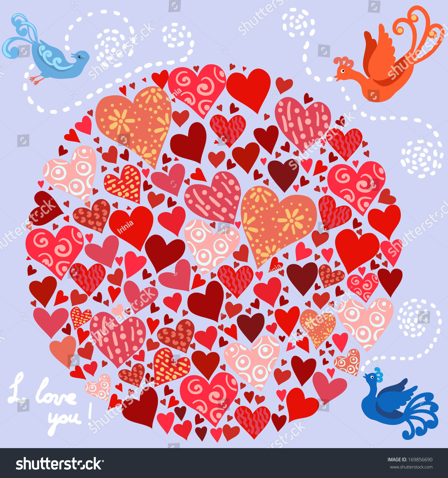 Cute Composition Hearts Arranged In A Circle, Different Colors And
