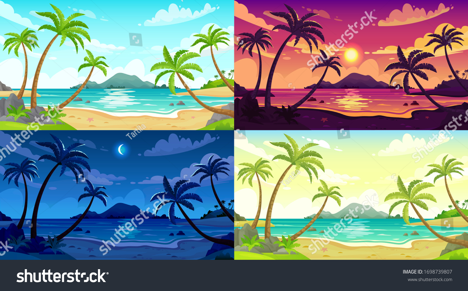 Daytime Beach Landscape Sunny Day Seascape Stock Vector Royalty Free 1698739807