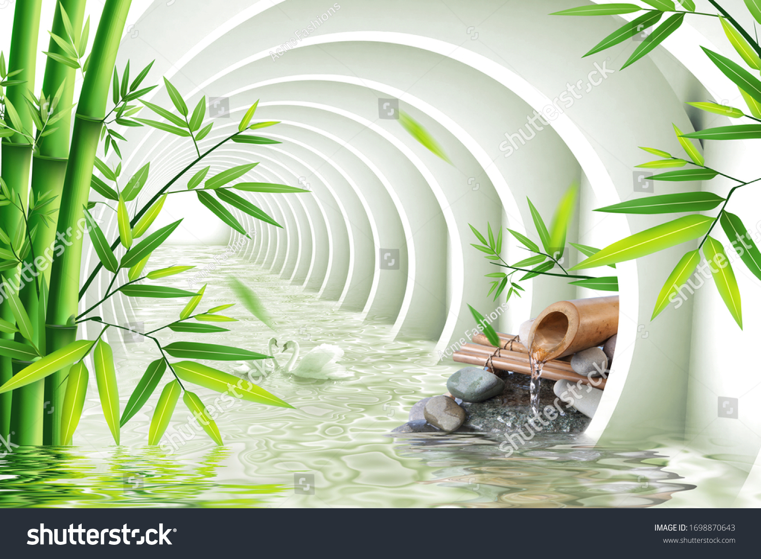3d Wallpaper Tunnel Water Bamboo Spa ...