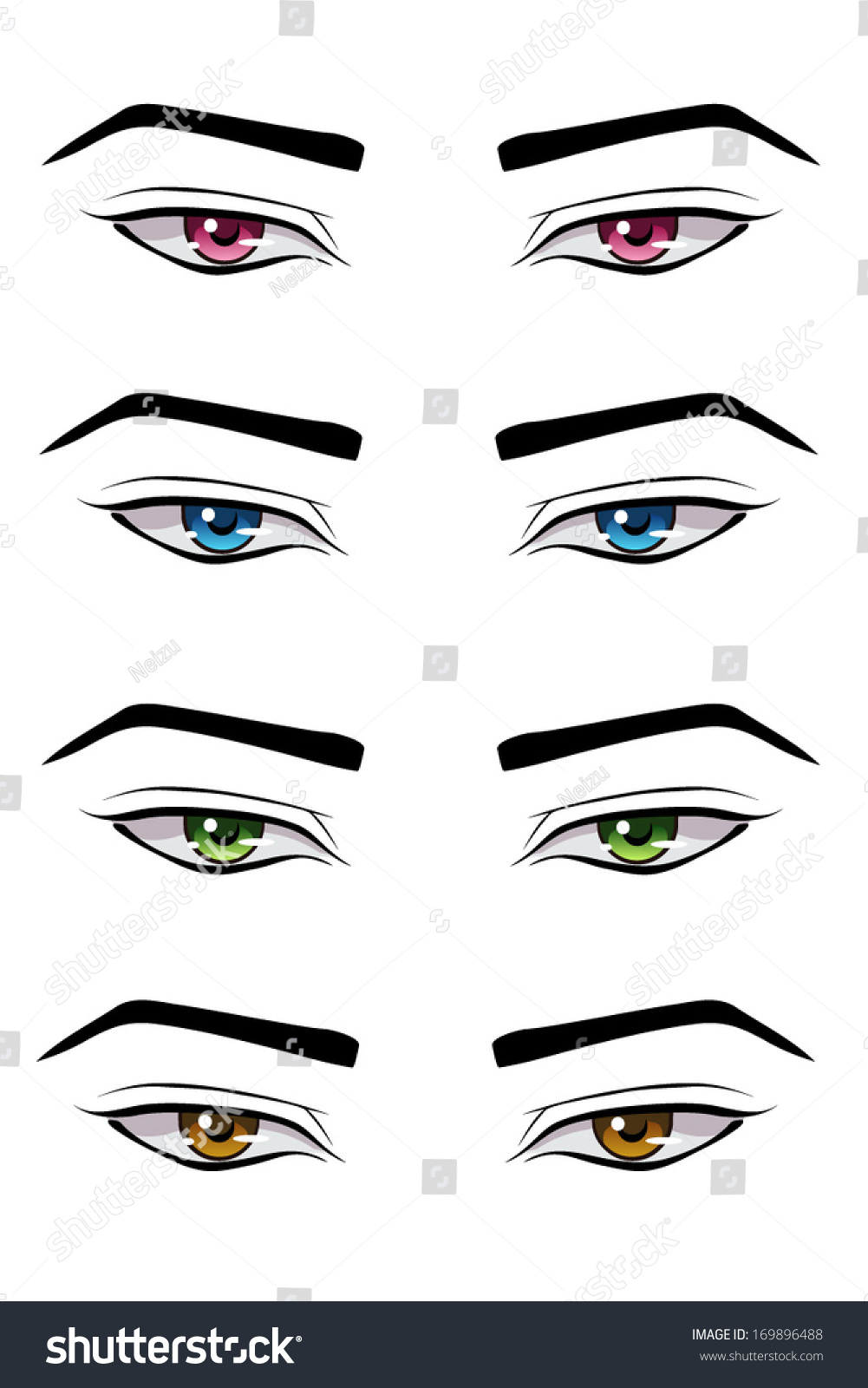 Set of male anime style eyes of different colors isolated on white
