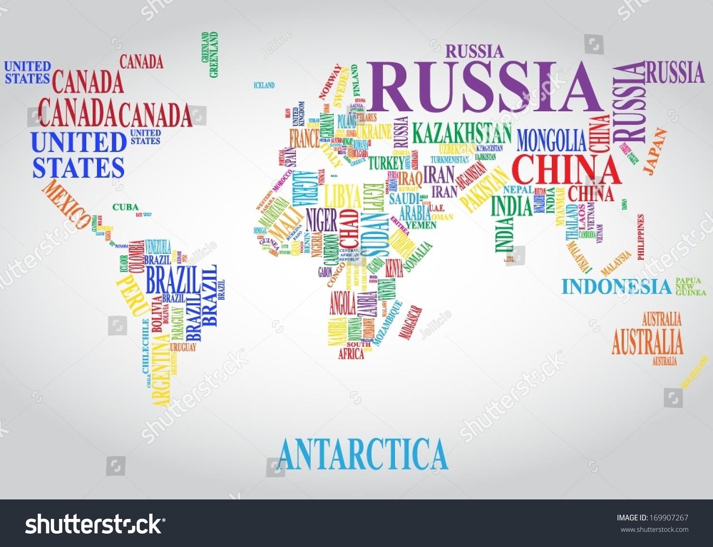 Word cloud world map vectores en stock 169907267 shutterstock word cloud world map gumiabroncs Choice Image