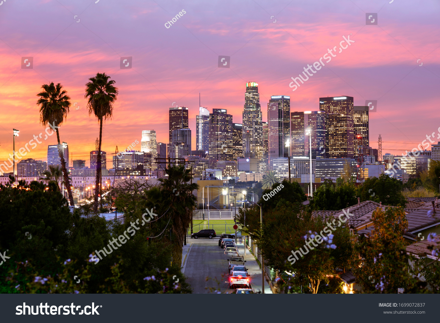 Los Angeles downtown skyline at sunset #1699072837