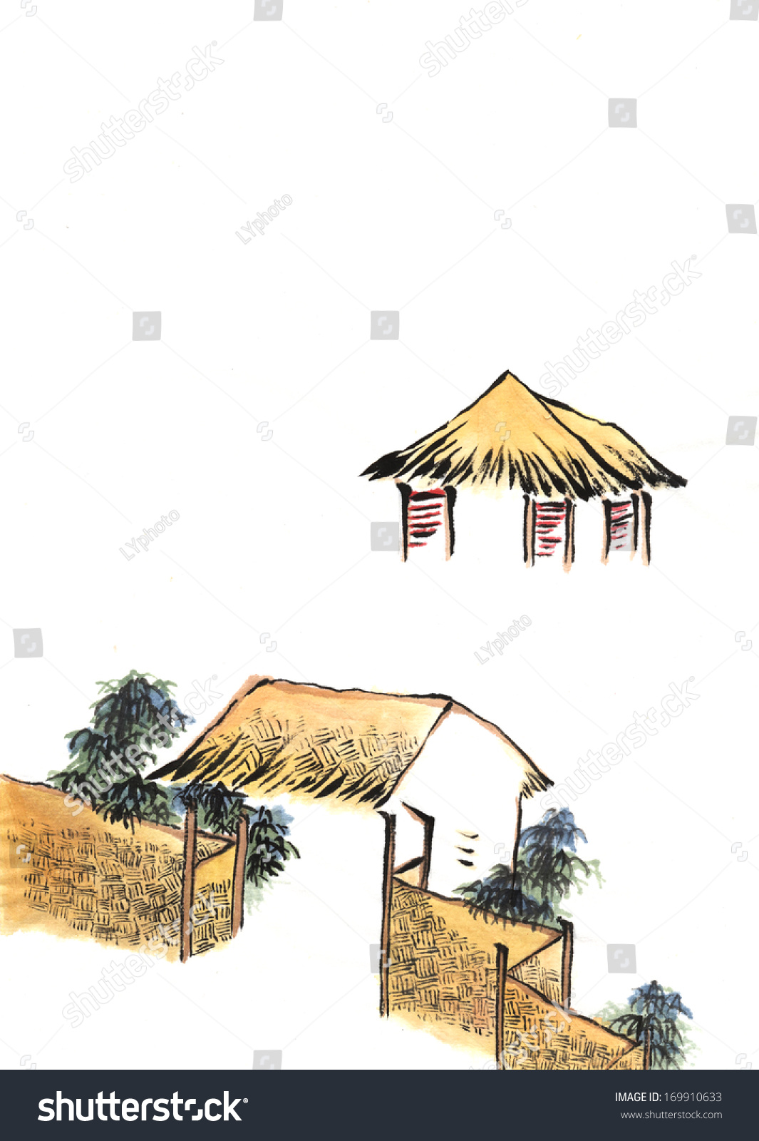 Classic China Chinese Paintingthe Old House Country Stock ...
