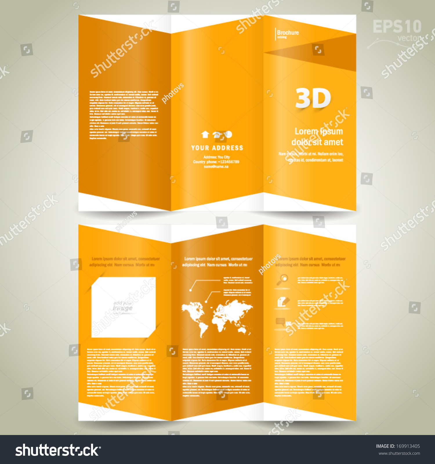 D Dimensional Design Brochure Template Folder Stock Vector - 3d brochure template